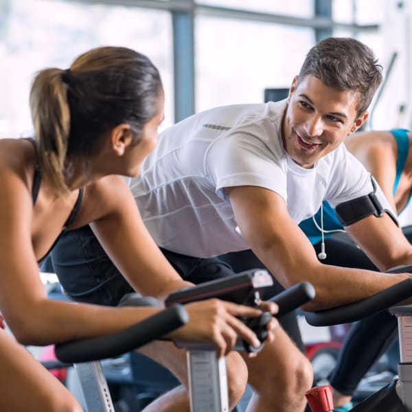 Residents working out at the fitness center at Town Lantana in Lantana, Florida