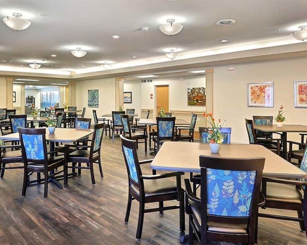 Bright resident dining room at Milestone Senior Living Stoughton in Stoughton, Wisconsin.