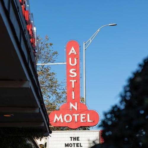 Iconic Austin Motel sign near 44 South in Austin, Texas