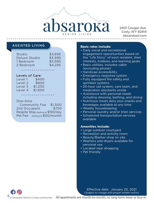 rates chart at Absaroka Senior Living in Cody