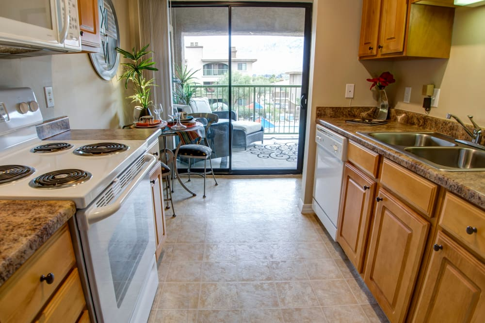 Bright kitchen at Oro Vista Apartments in Oro Valley, Arizona