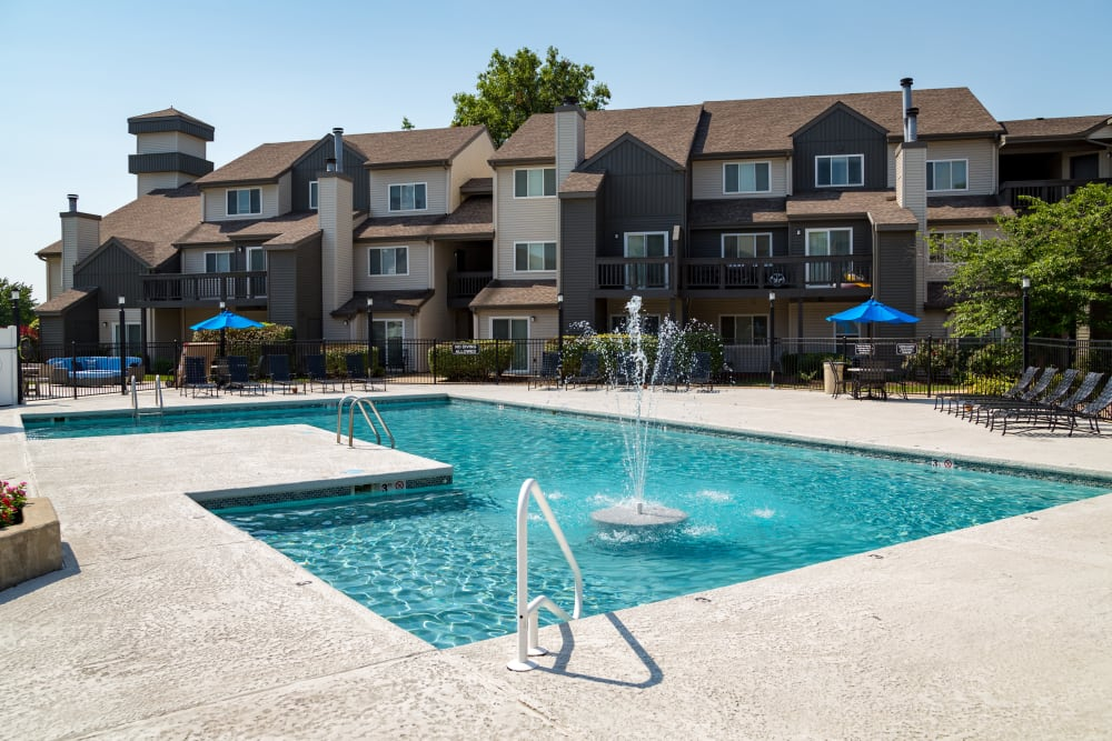 Luxurious outdoor pool at Metro on 5th in Saint Charles, Missouri