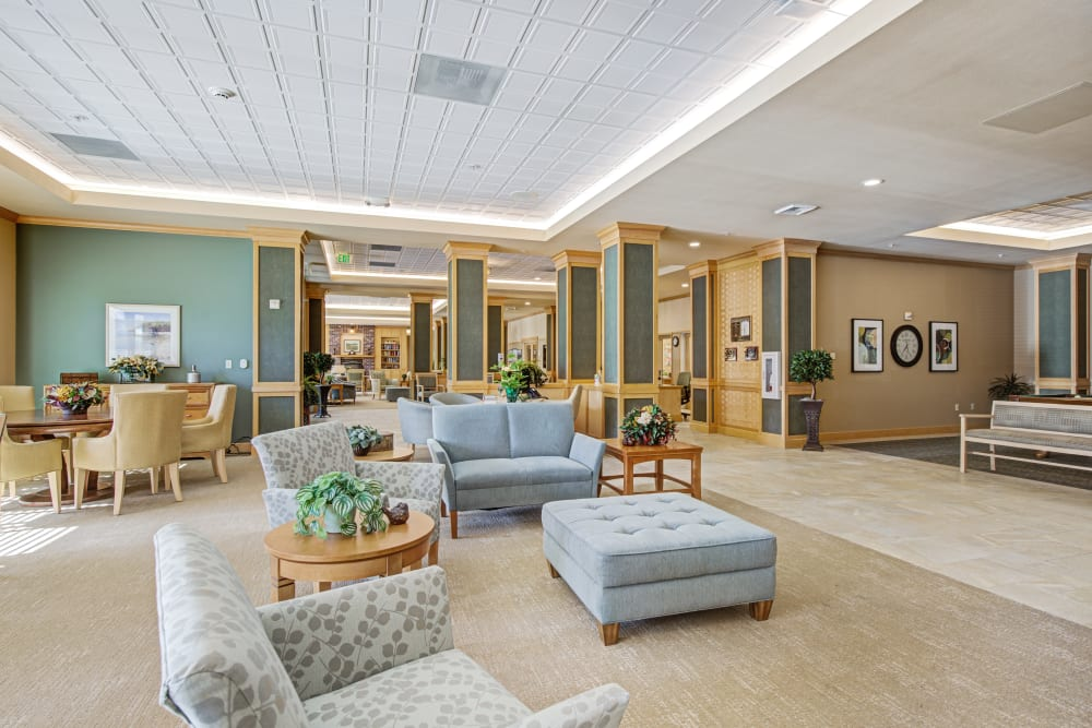 Lounge area at Merrill Gardens at Renton Centre in Renton, Washington.
