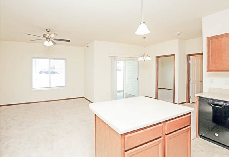Model kitchen and dining room at Johnston Heights in Johnston, Iowa