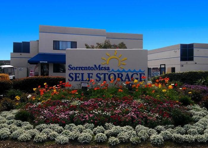 A driveway between storage units at Sorrento Mesa Self Storage in San Diego, California
