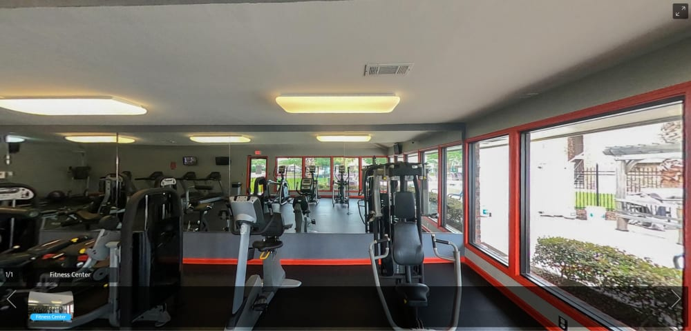 virtual tour of fitness center at Emerald Pointe Apartment Homes in Harvey, Louisiana