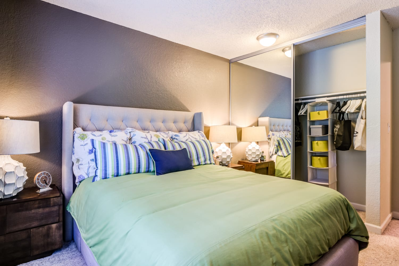Comfortable bedrooms at Vue Kirkland Apartments in Kirkland, Washington