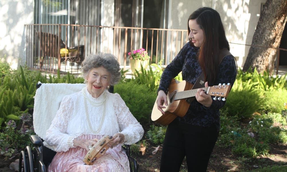 Playing music at Regency Park Oak Knoll in Pasadena, California