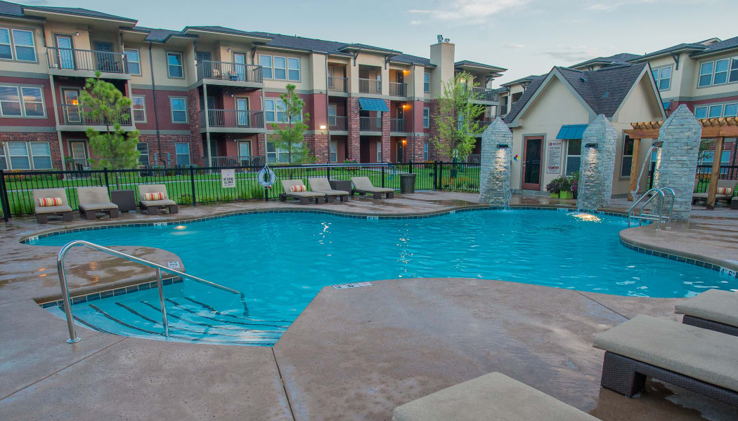 Poolside seating at The Reserve at Elm in Jenks, Oklahoma