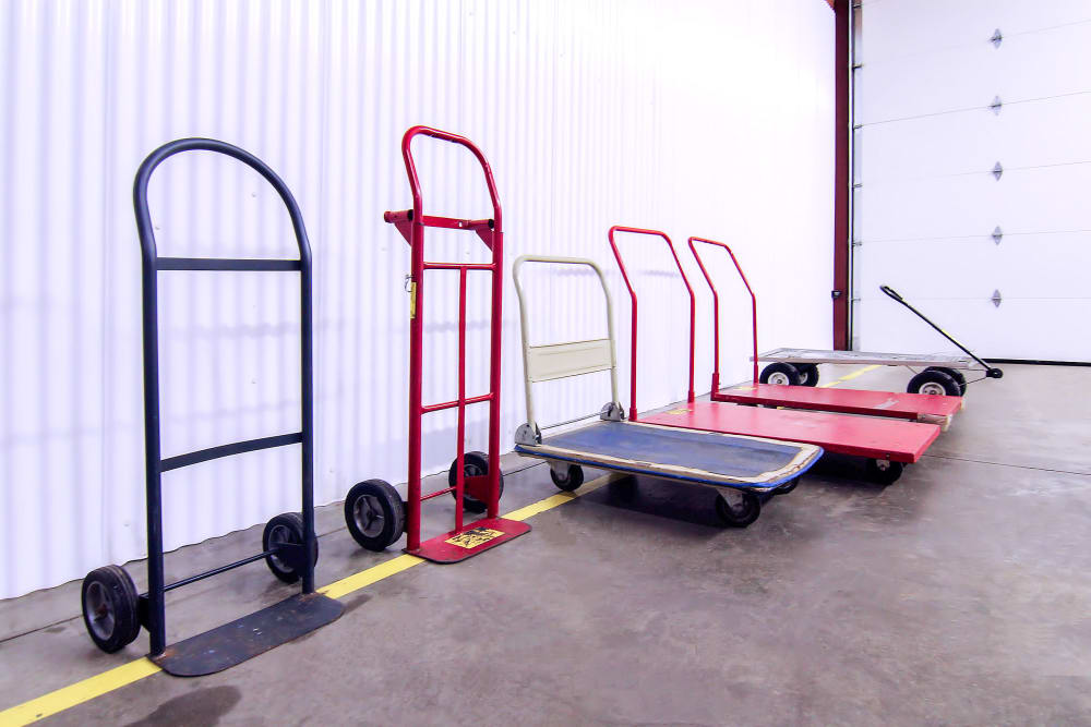 Hand trucks and carts available for customers to use at Prime Storage in Boardman, Ohio