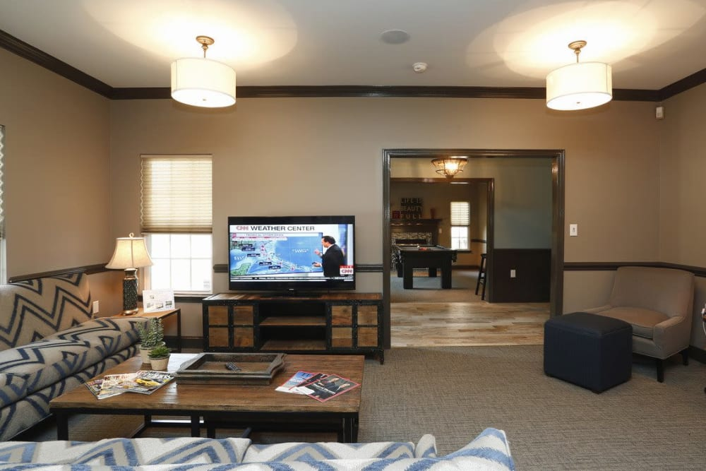 Community TV area at Waterford Place in Greenville, North Carolina
