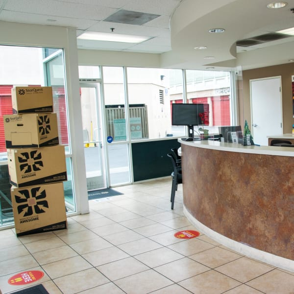 Boxes and packing supplies for sale in the leasing office at StorQuest Self Storage in Long Beach, California