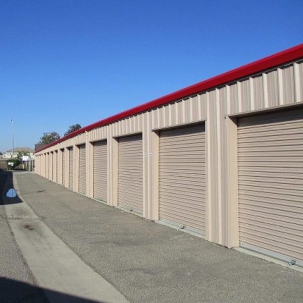 Outdoor storage units at StorQuest Self Storage in Ripon, California