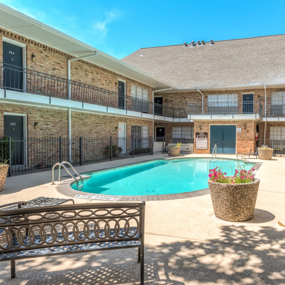 sparkling swimming pool at The Villages at Meyerland in Houston, Texas