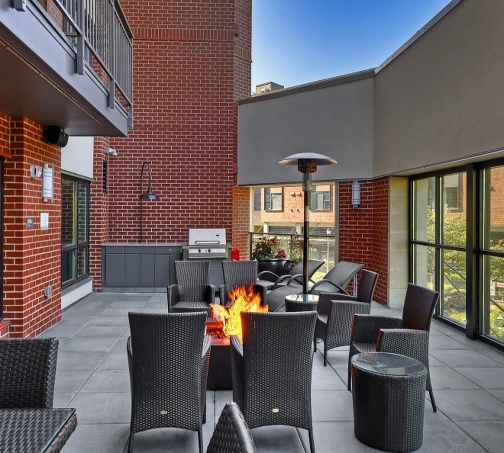 Outdoor fireside lounge at The Meyden in Bellevue, Washington