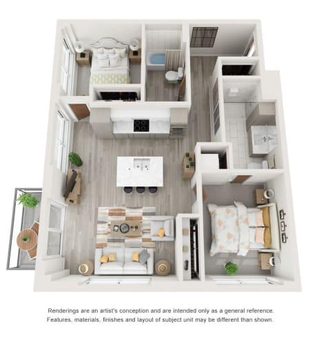 2 Bedroom Condo Floor Plan at The Vista in Esquimalt, British Columbia