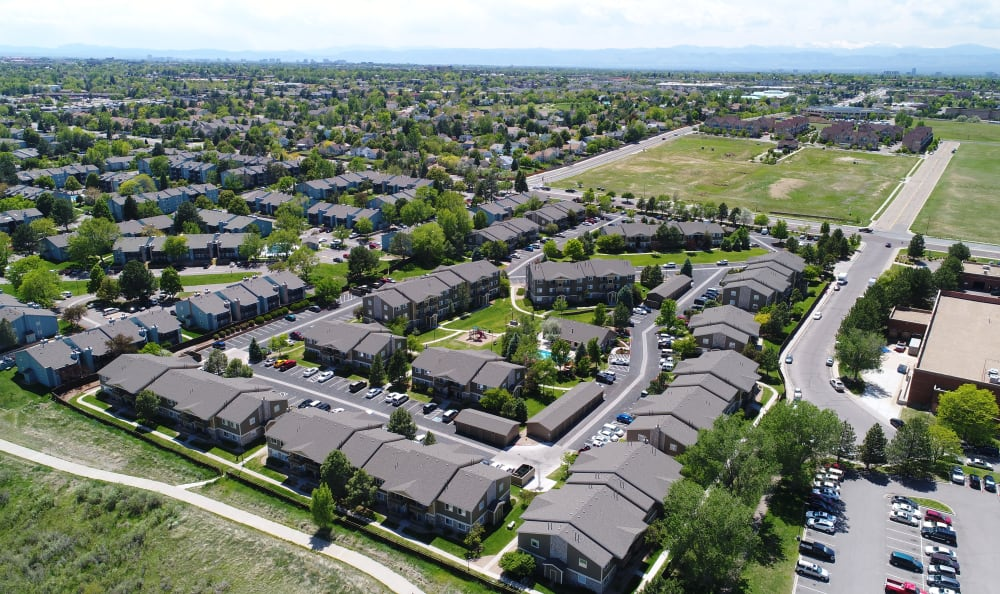 Ariel View Of Crossroads at City Center Apartments in Aurora, CO