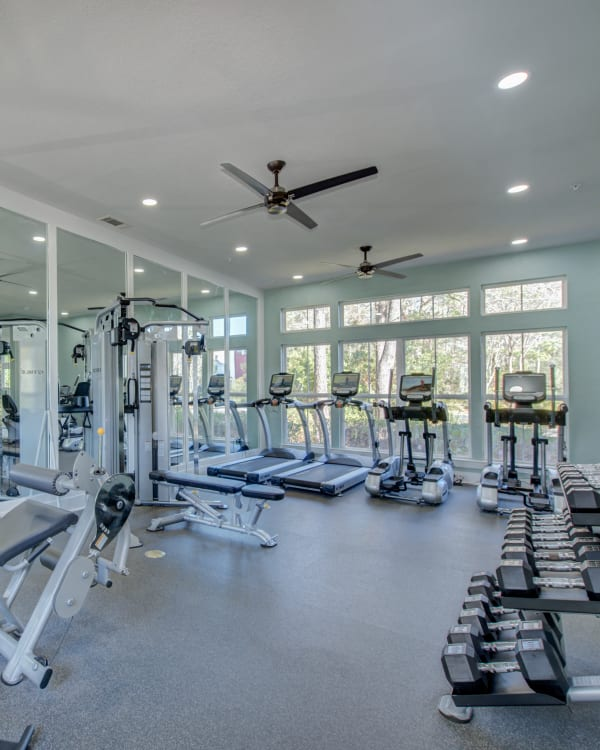 Fully equipped fitness room at Ingleside Apartments in North Charleston, South Carolina