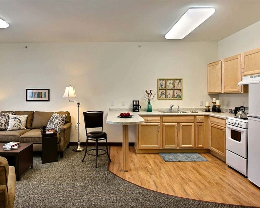 Roomy floor plans with a full living room and kitchen at Milestone Senior Living Woodruff in Woodruff, Wisconsin.