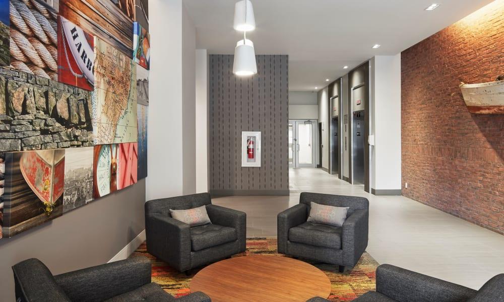 Community seating area at 19Twenty Apartments in Halifax, Nova Scotia