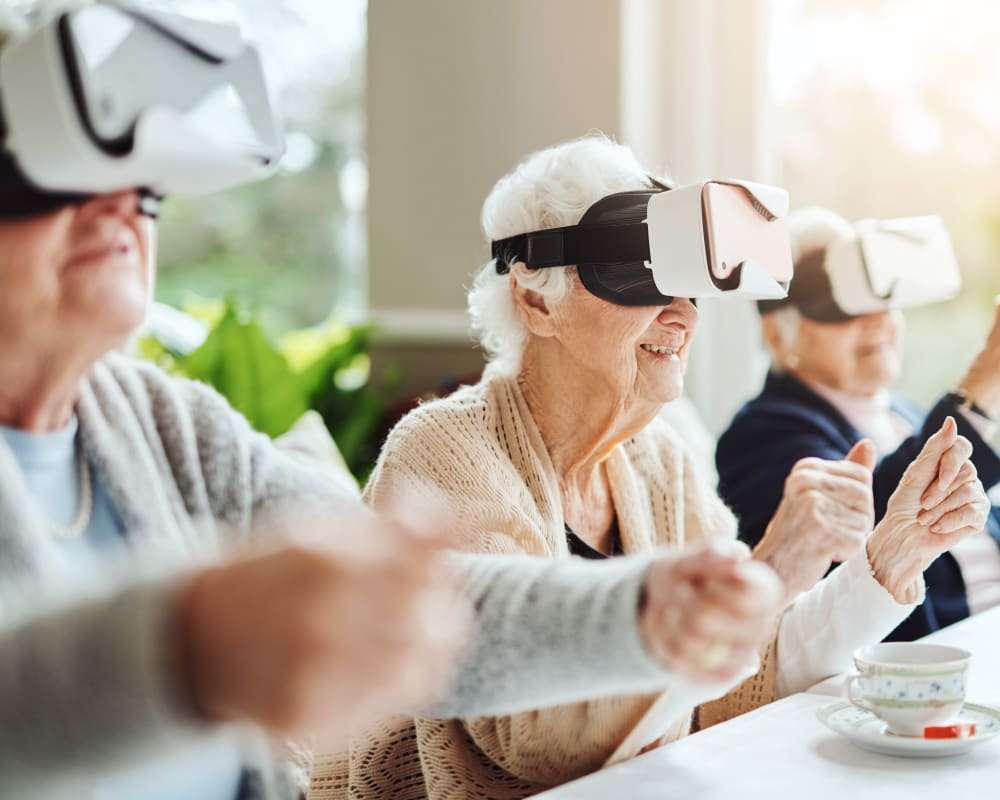 Residents enjoying a virtual reality activity at Ramsey Woods in Cudahy, Wisconsin.