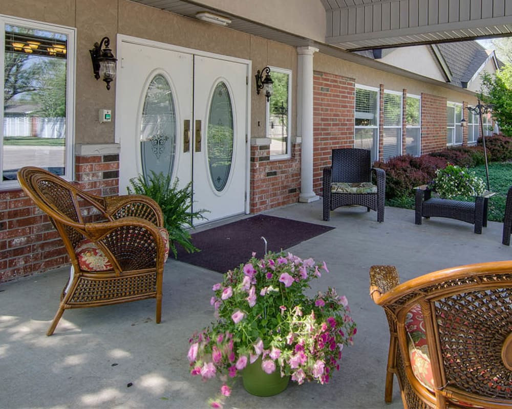 Covered outdoor seating on the patio at North Point in Paola, Kansas