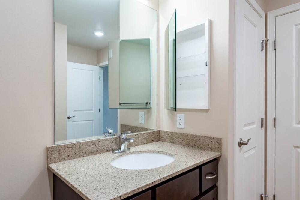 Bathroom layout at Bennington Hills Apartments in West Henrietta, New York