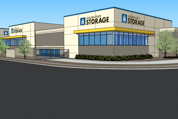 A rendering of the front of Golden State Storage - Blue Diamond in Las Vegas, Nevada