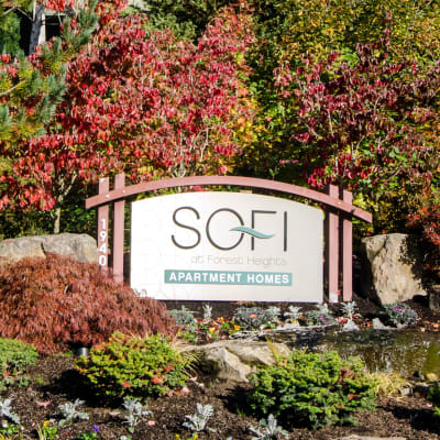 Our sign welcoming residents home to Sofi at Forest Heights in Portland, Oregon