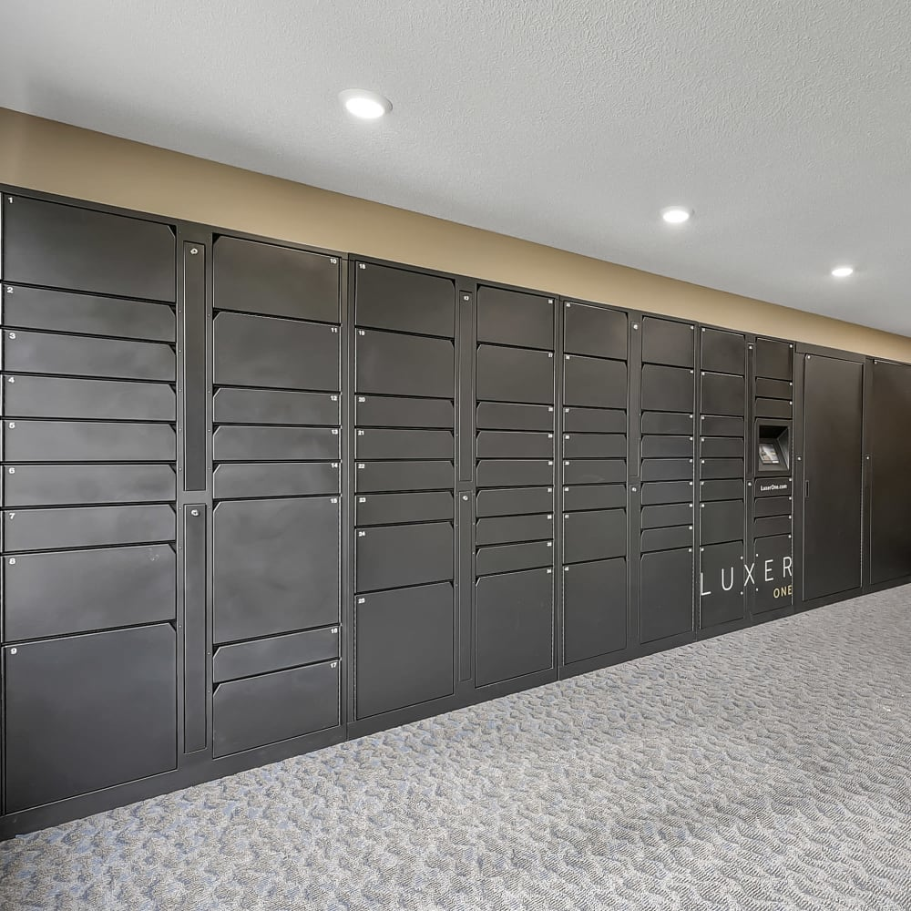 Secure package lockers by Luxer at Oaks Lincoln Apartments & Townhomes in Edina, Minnesota