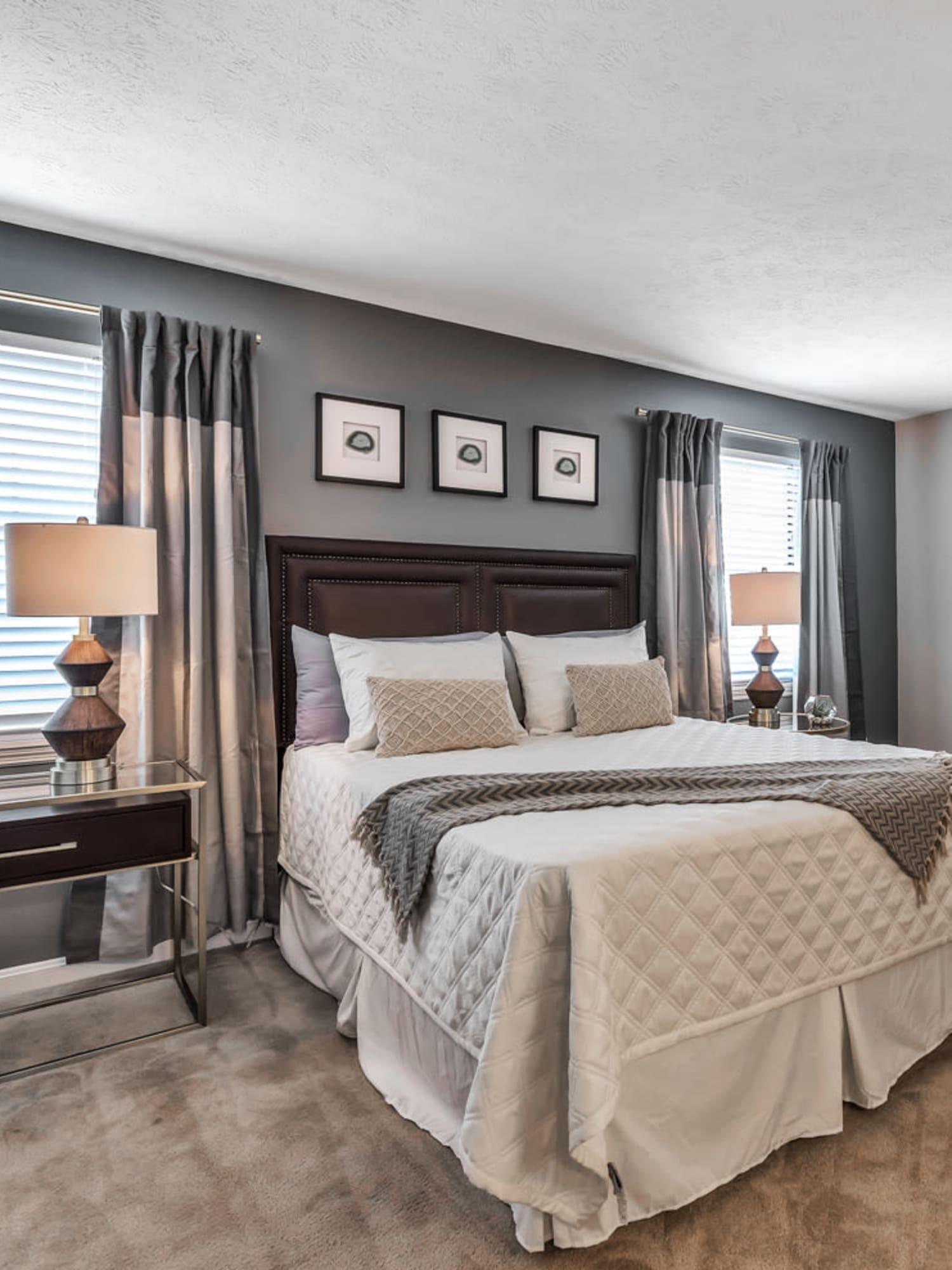 Model bedroom at Mallard Lakes Townhomes in Cincinnati, Ohio