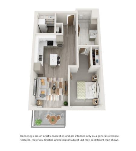 1 Bedroom Condo Floor Plan at The Vista in Esquimalt, British Columbia
