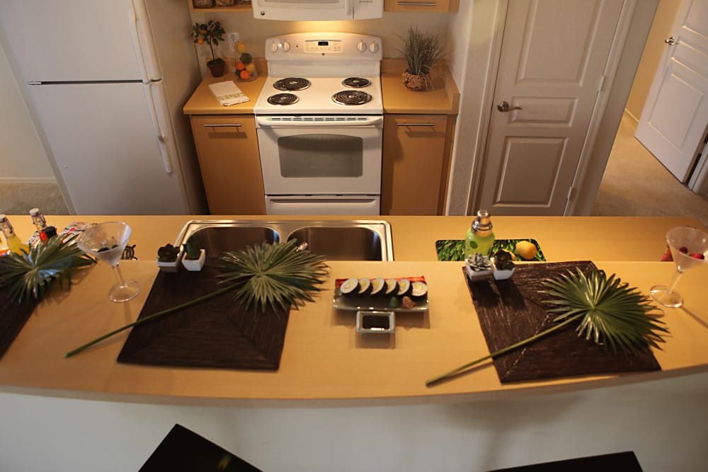 Kitchen layout at Sage Luxury Apartment Homes in Phoenix, Arizona
