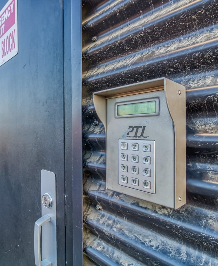 Keypad at an entrance to StorQuest Self Storage in Modesto, California