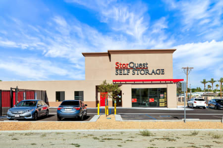 Outdoor night view of StorQuest Self Storage in Bermuda Dunes, California