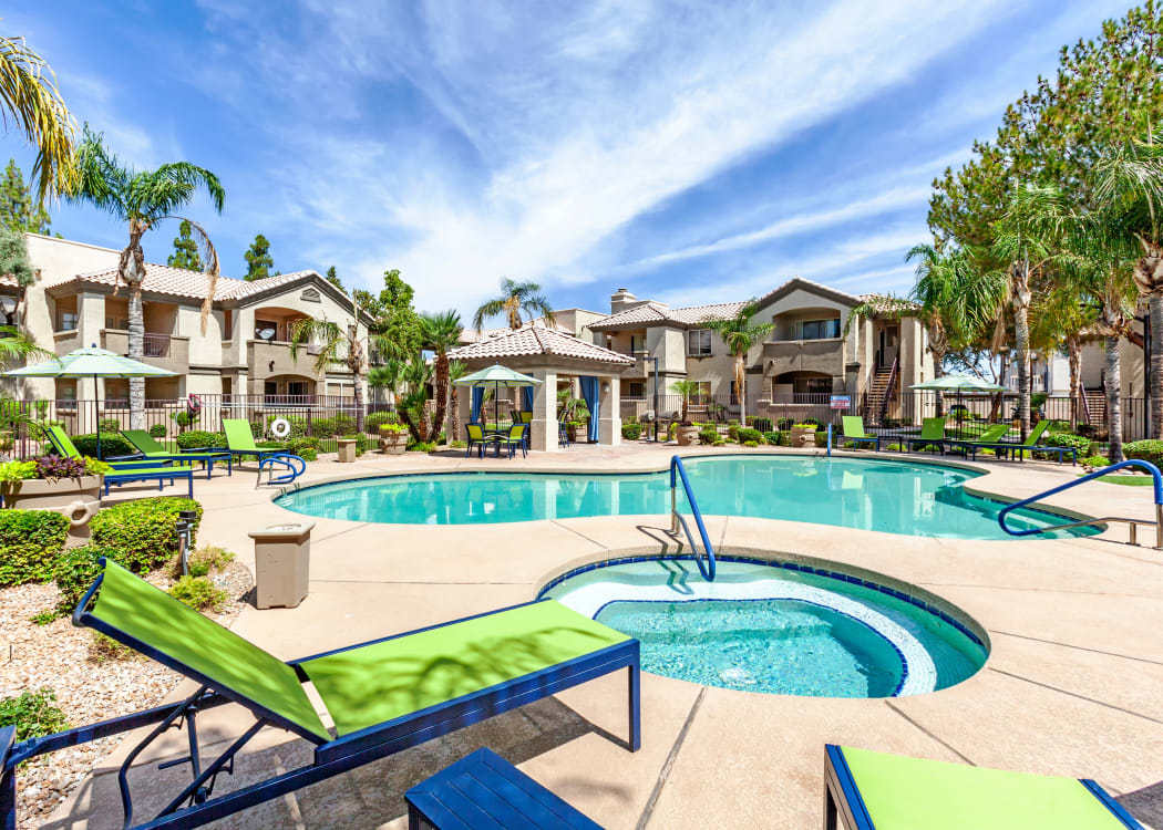 Beautiful swimming pool area at Lumiere Chandler in Chandler, Arizona