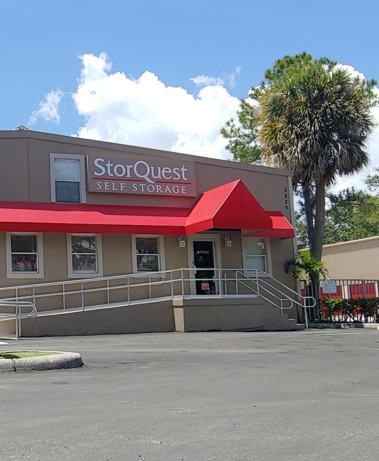 The exterior of the main entrance at StorQuest Self Storage in Tampa, Florida