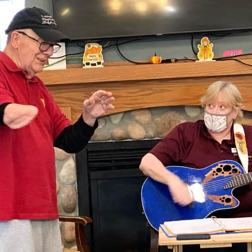Residents performing a song at Glen Carr House Memory Care in Derby, Kansas