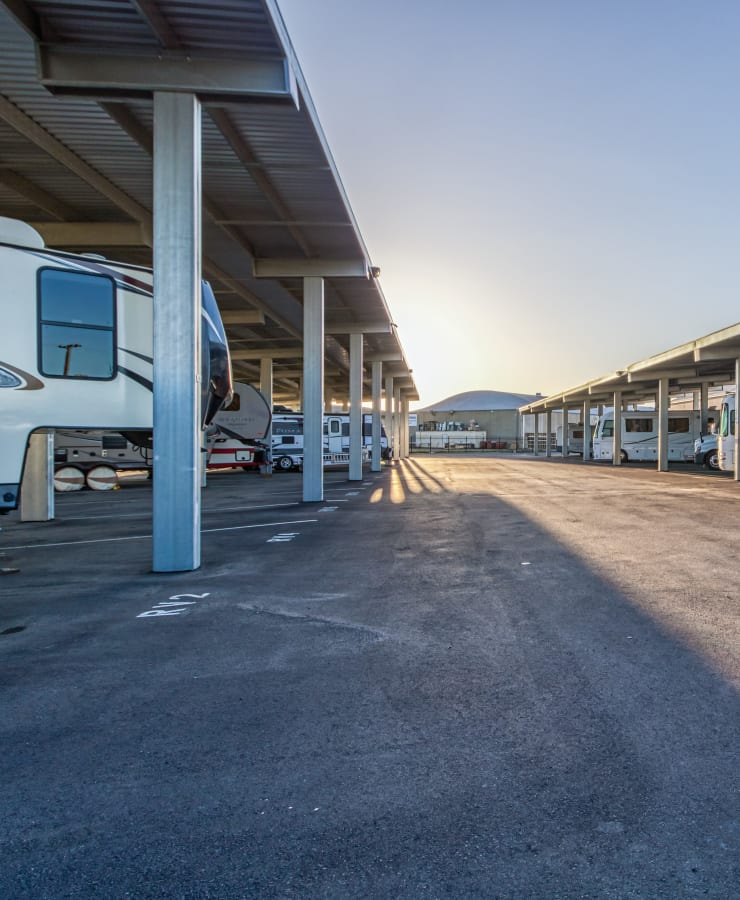 Covered RV, boat, and auto parking at StorQuest Self Storage in Modesto, California