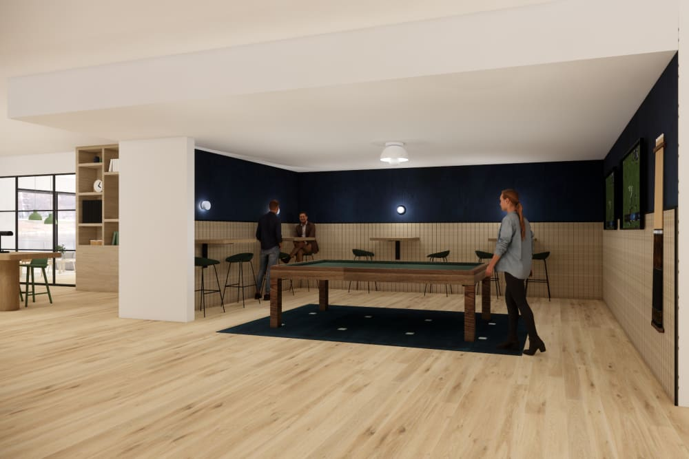 Rendering of a room with a pool table at Seventeen West in Atlanta, Georgia