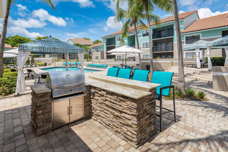 Outdoor BBQ area at The EnV in Hollywood, Florida