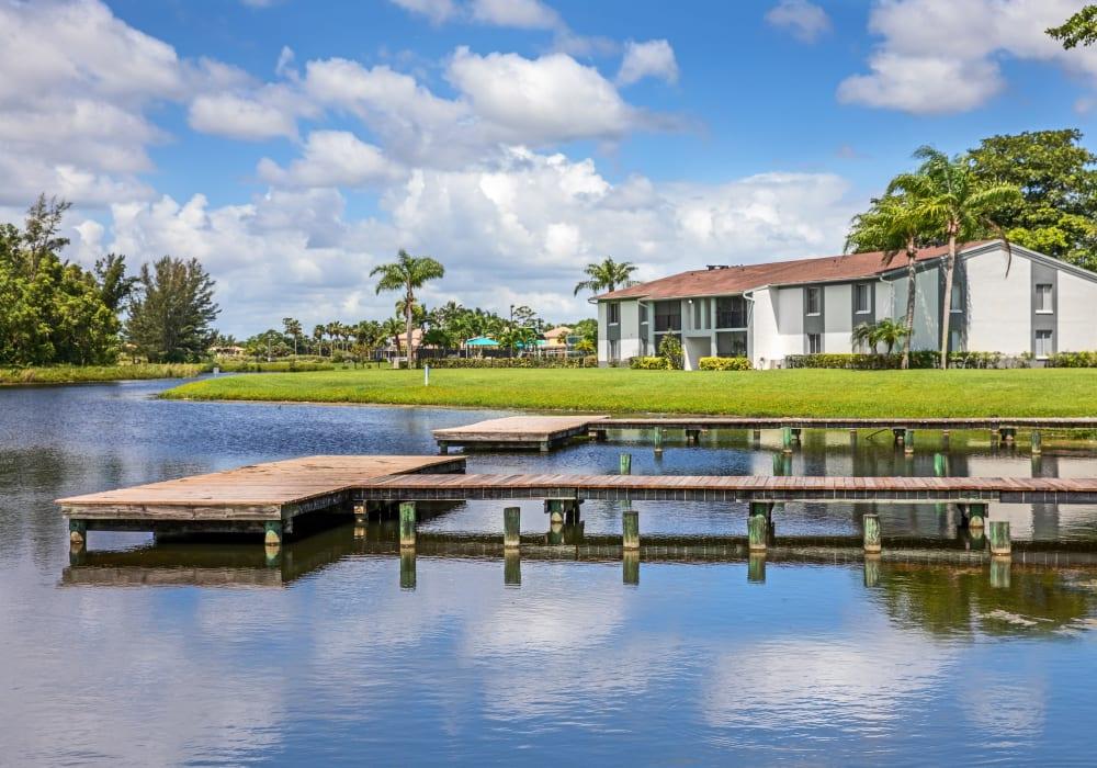 Palm trees and dock near Verse at Royal Palm Beach in Royal Palm Beach, Florida