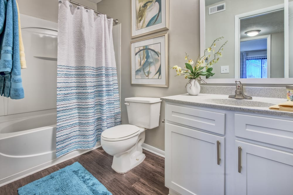 Model bathroom with large vanity mirror and oval tub at The Madison in Charlotte, North Carolina