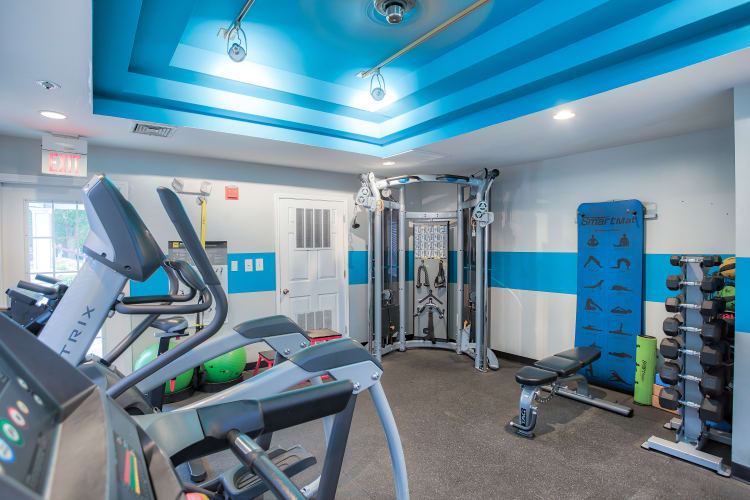 The community fitness center at Middletown Brooke Apartment Homes