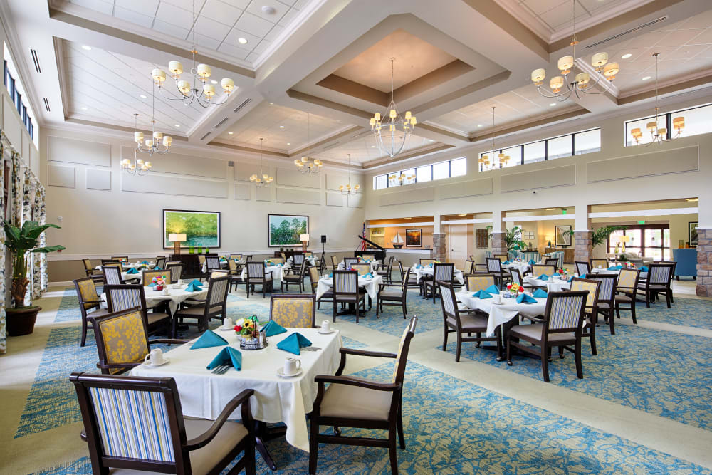 Beautiful dining room at The Fountains of Hope in Sarasota, Florida.