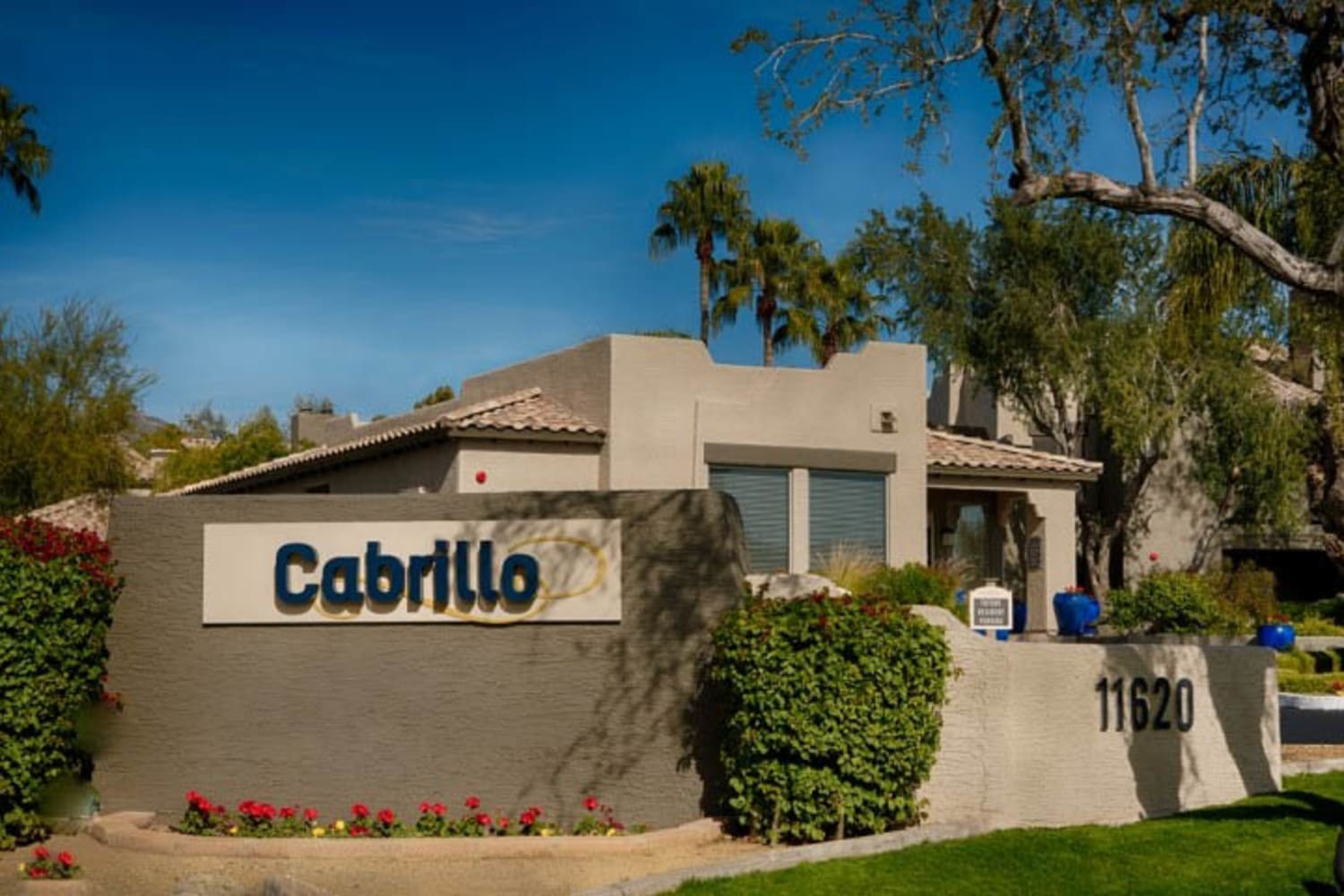 Front entrance sign at Cabrillo Apartments in Scottsdale, Arizona