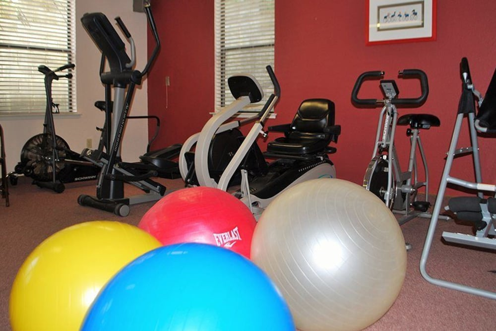 Fitness center at Hilltop Commons Senior Living in Grass Valley, California