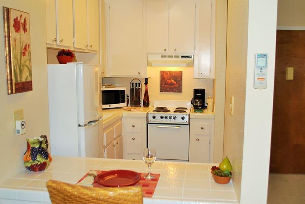 Modern kitchen area at Roseville Commons Senior Living in Roseville, California