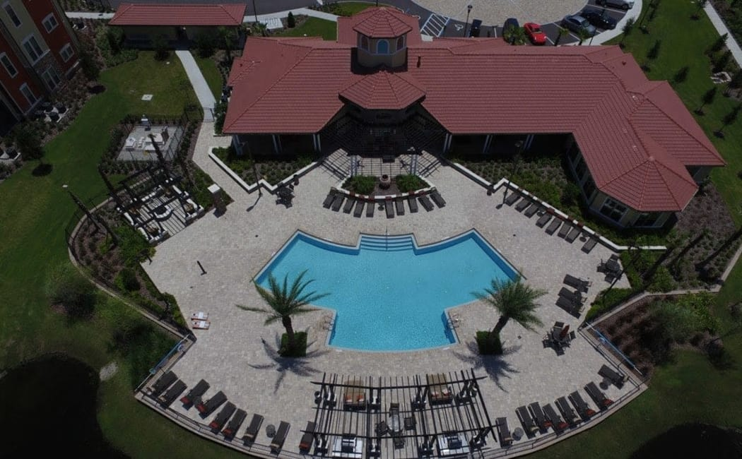 Aerial view of swimming pool in Daytona Beach near Sands Parc