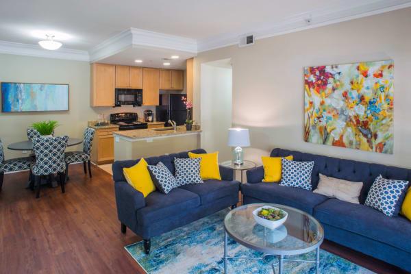 Living room and kitchen at Atkins Circle Apartments & Townhomes in Charlotte, North Carolina